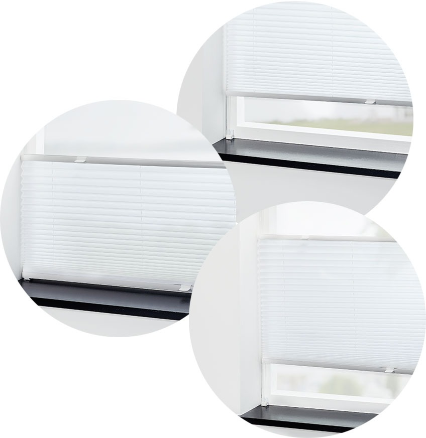Pleated blinds in three different positions