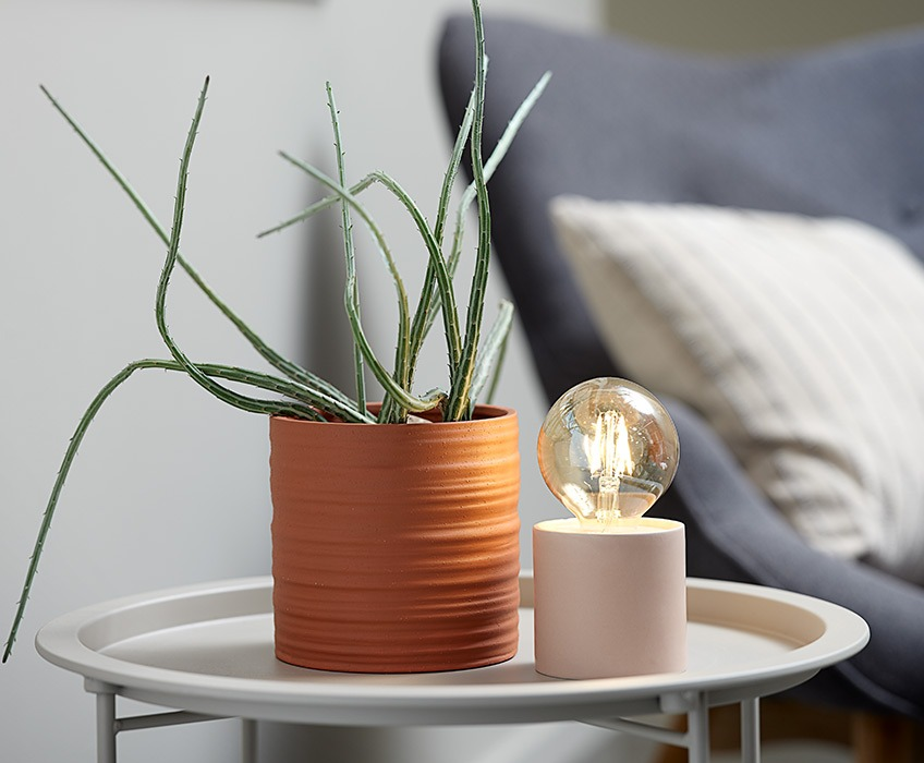 Plant pot and battery lamp on small end table